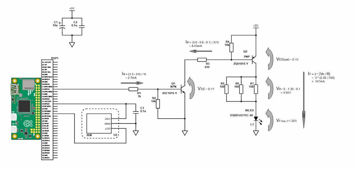 2SA1815で赤外線LEDを107mAでドライブする回路
