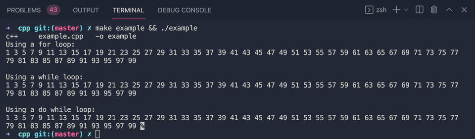 C++ print odd numbers 1 to 100