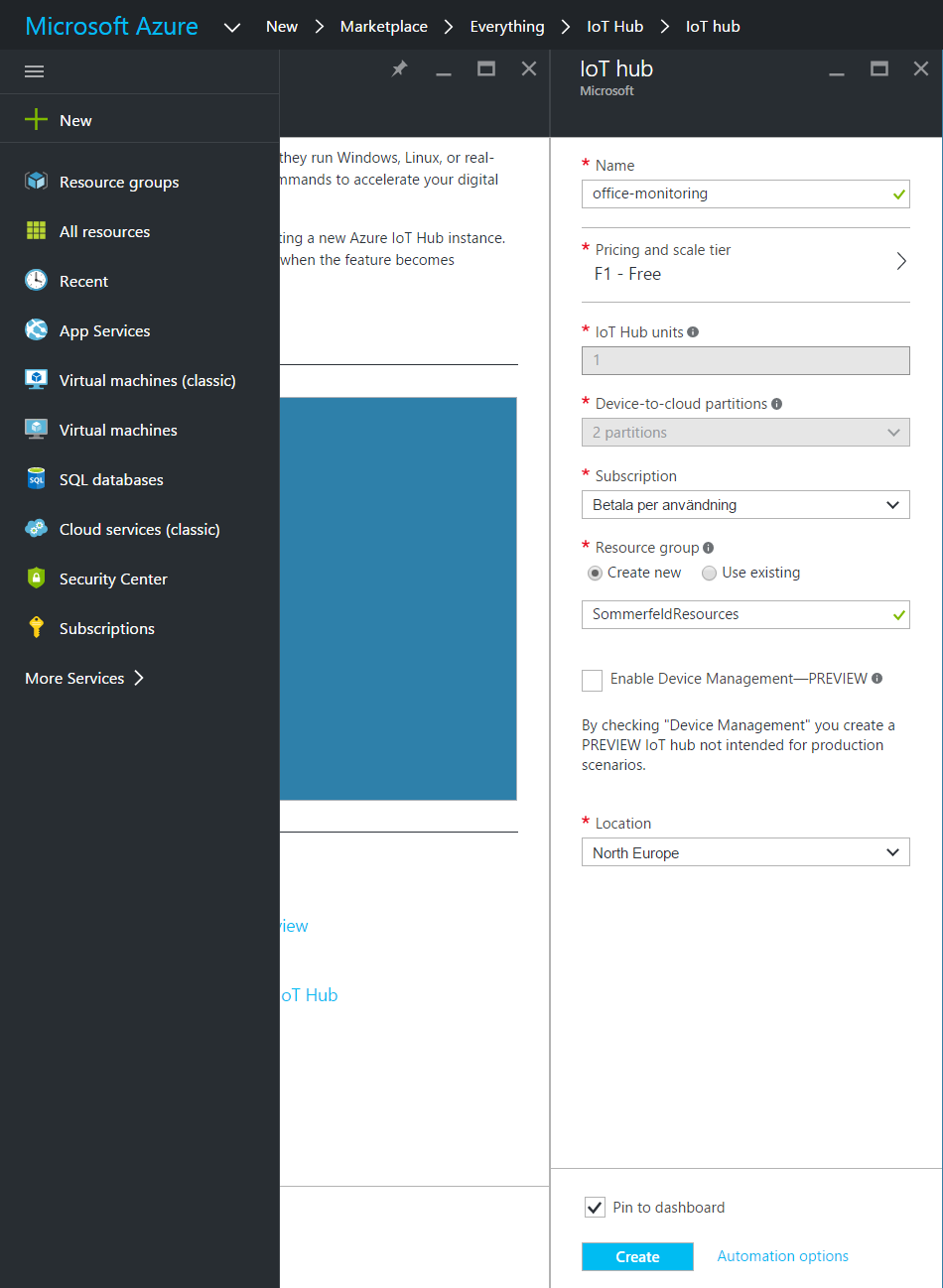 Registering Azure IoT Hub in Azure Portal