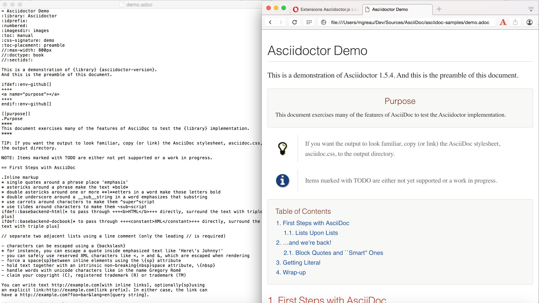 Opera Asciidoctor.js Live Preview