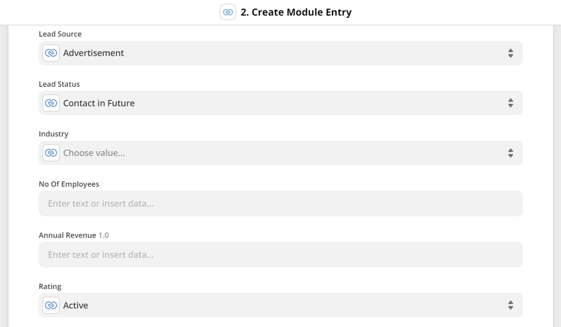 Customize the parsed data to be sent to Zoho CRM