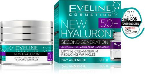 EVELINE New Hyaluron 50+ lifting hatású ránctalanító krém-szérum arcra 50 ml | Eveline Cosmetics