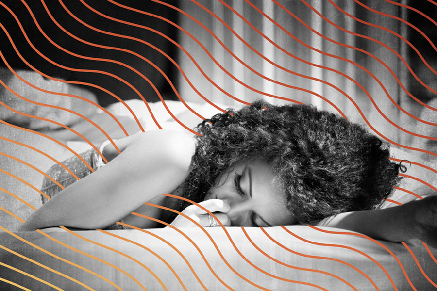 Stock photo of a woman lying down with abstract lines added in