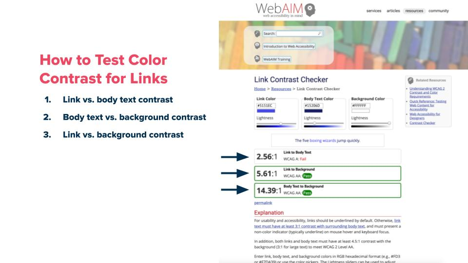 A screenshot showing the WebAIM user interface highlighting contrast issues and recommendations.