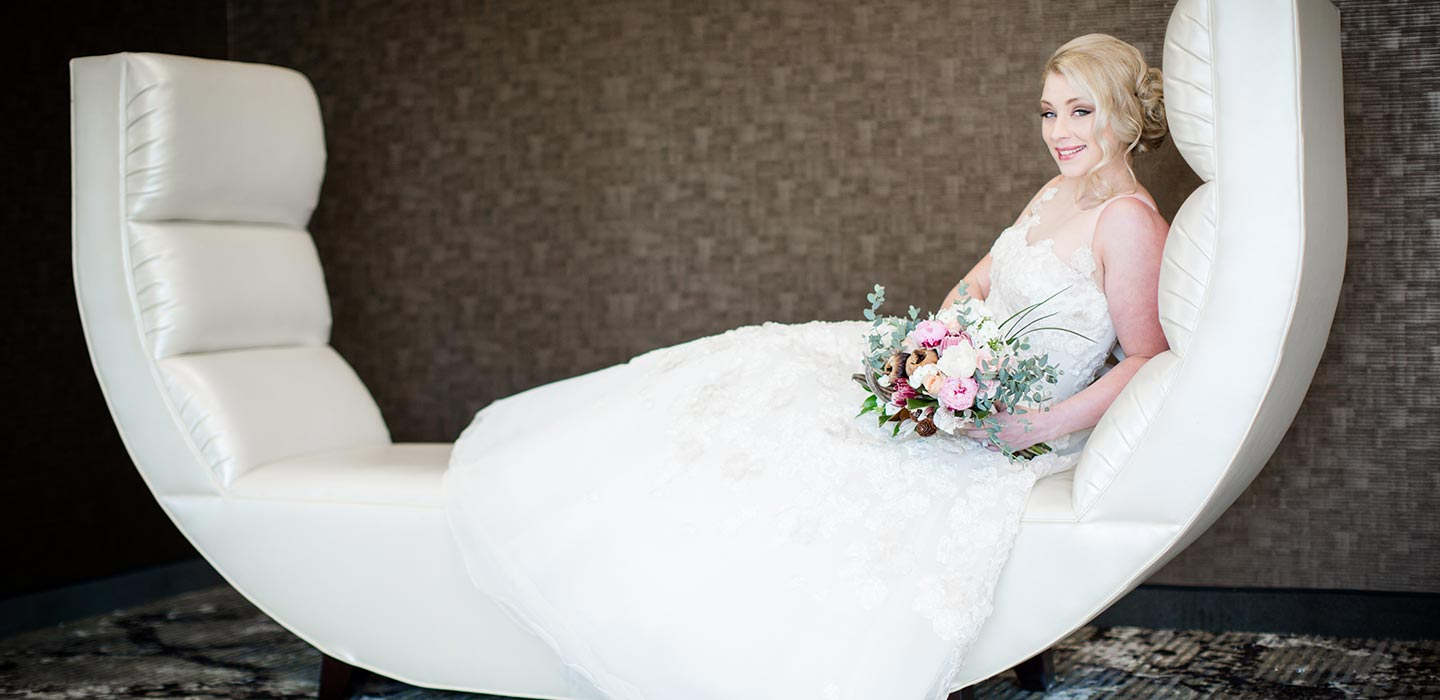 Bride possing on chair