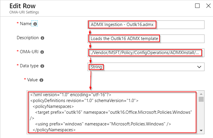 Picture showing how to edit a row in a custom OMA-URI, in Intune