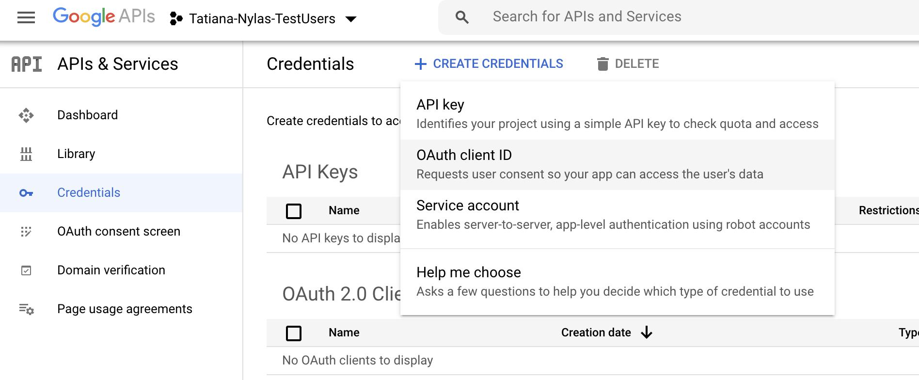 Google Console Create Credentials