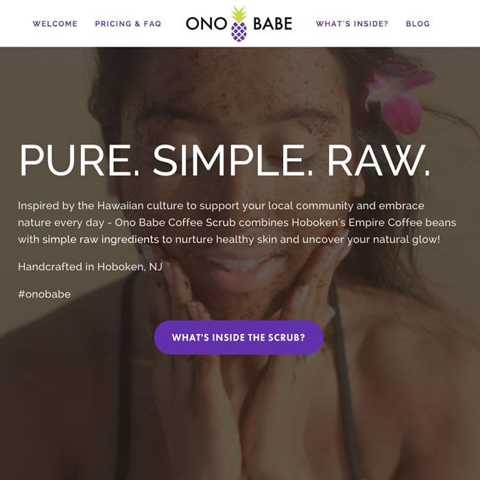 Ono Babe Coffee Scrub website