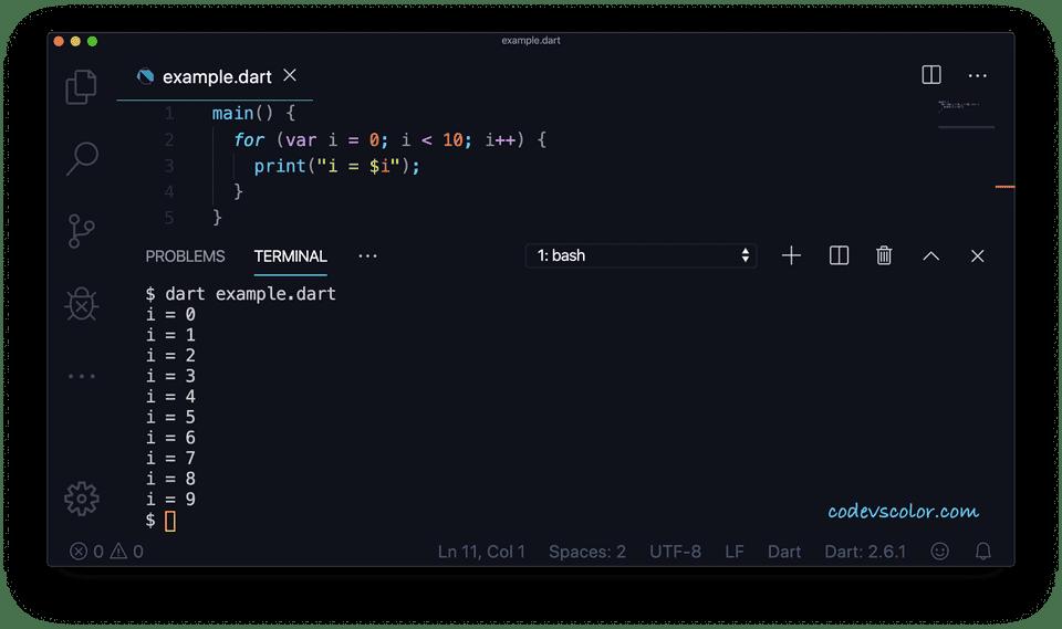 Dart for loop simple example