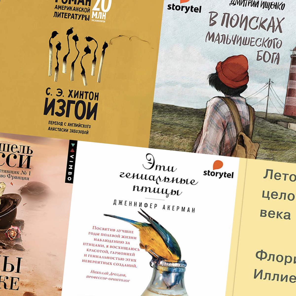 Обложки аудиокниг: «Лето целого века», «Изгои», «Эти гениальные птицы», «Следы напеске», «Впоисках мальчишеского бога»