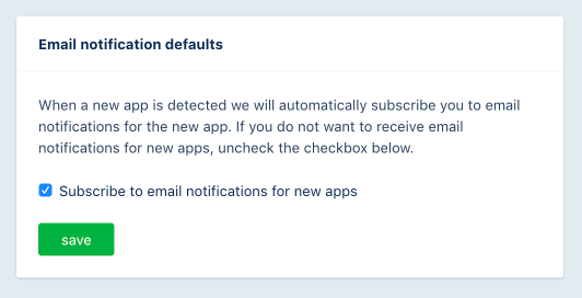 Default email notification preference screenshot