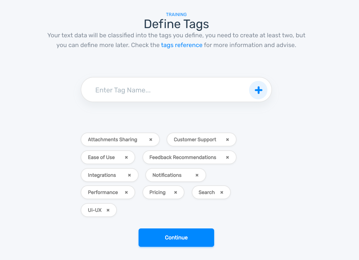 Defining tags on the Aspect Classifier