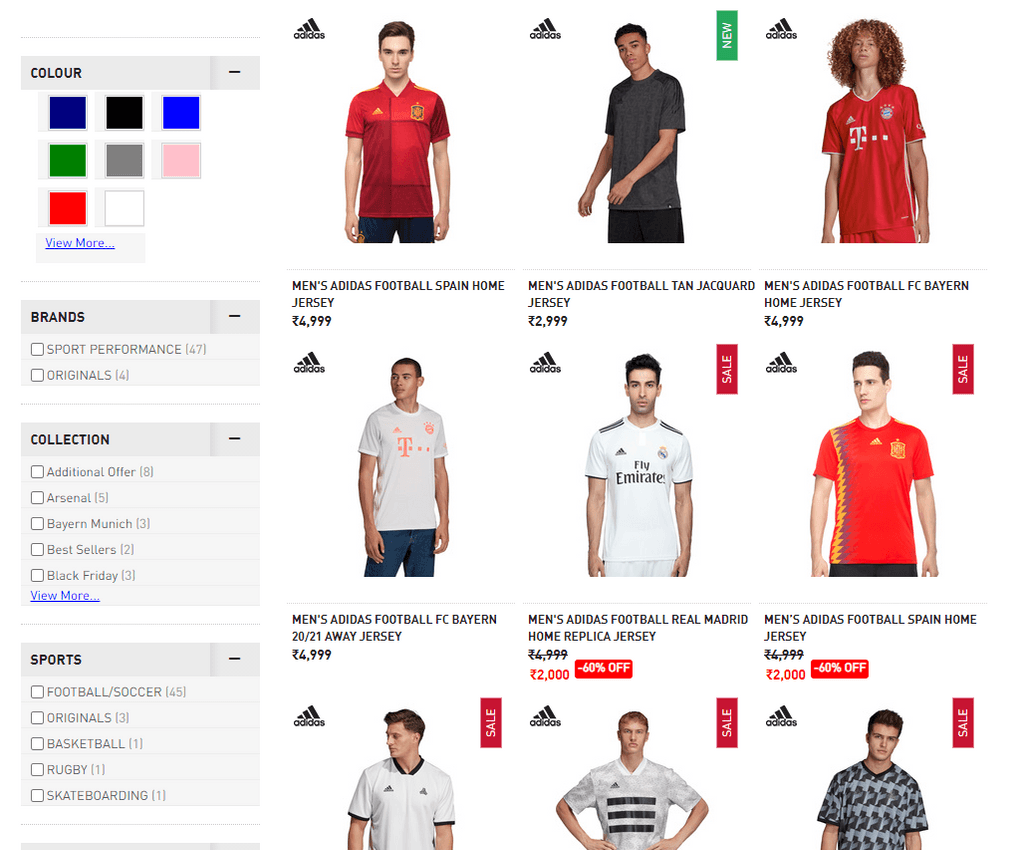 Adidas Filtering options