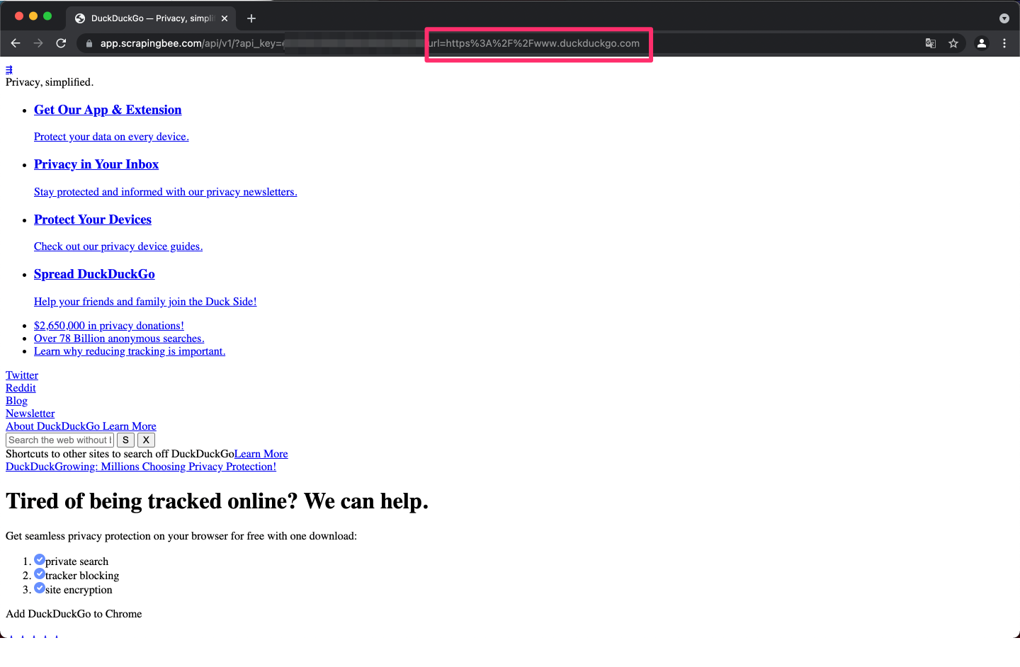 DDG website without css