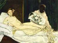 Compare Cezanne's painting with Manet's original Olympia, shown at the Salon nine years previously.