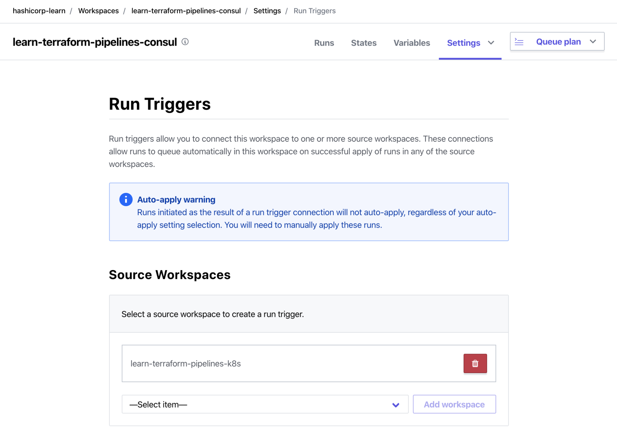 Terraform Cloud Consul Workspace enable run trigger to point to Kubernetes Workspace