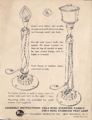 Poloron Products Noel Standing Candle #C86-6, Noel Standing Post Lamp #C88-6 Instruction Manual preview