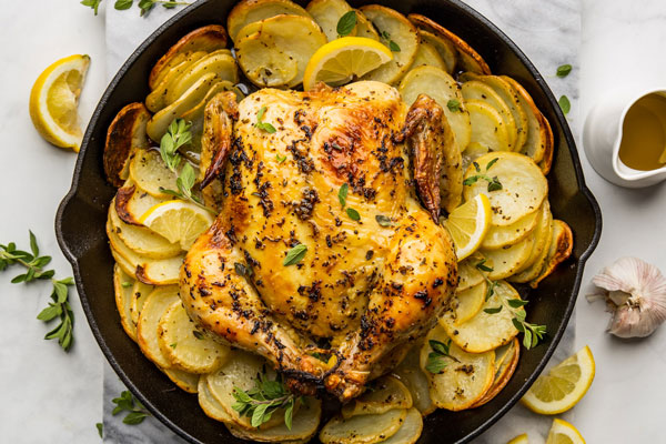 Greek Style Skillet Roast Chicken With Crispy Potatoes