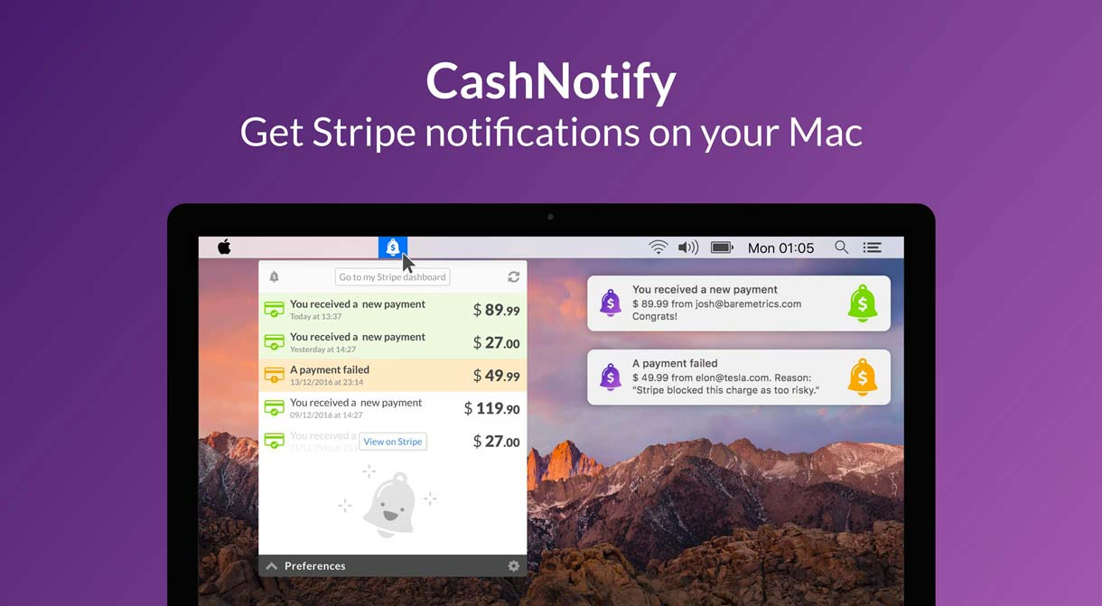 CashNotify: Get Stripe notifications on your Mac