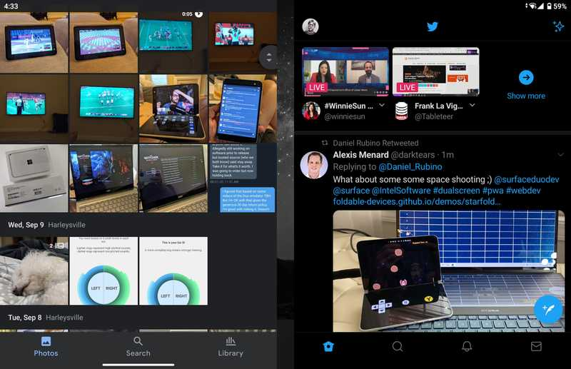 surface duo google photos and twitter