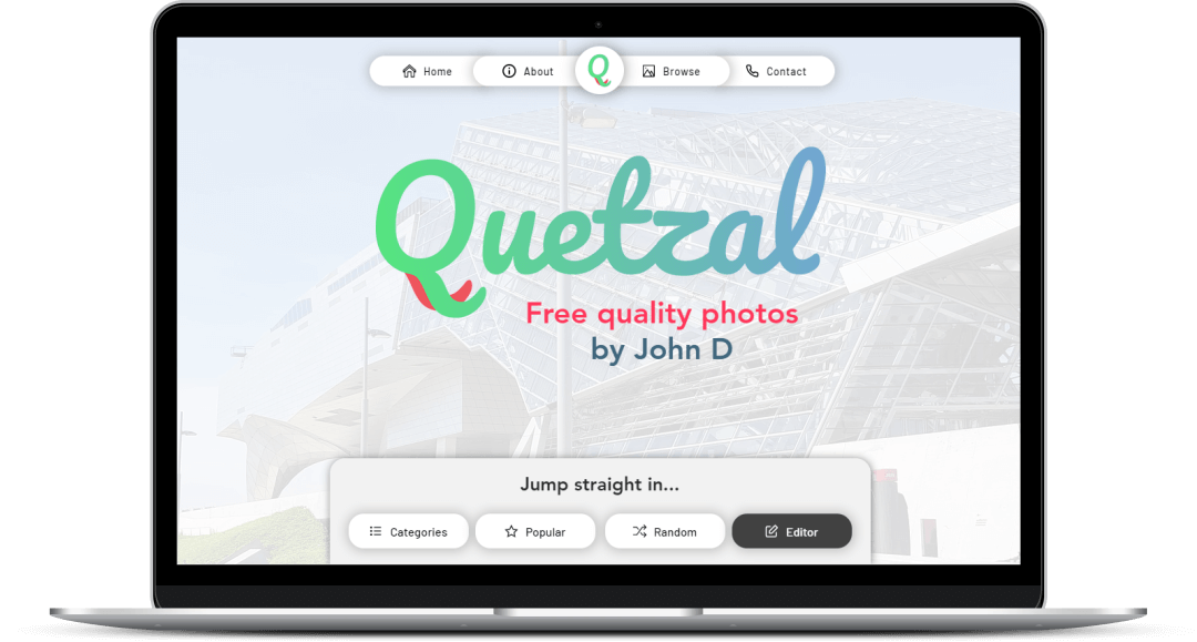 The Quetzal homepage and logo