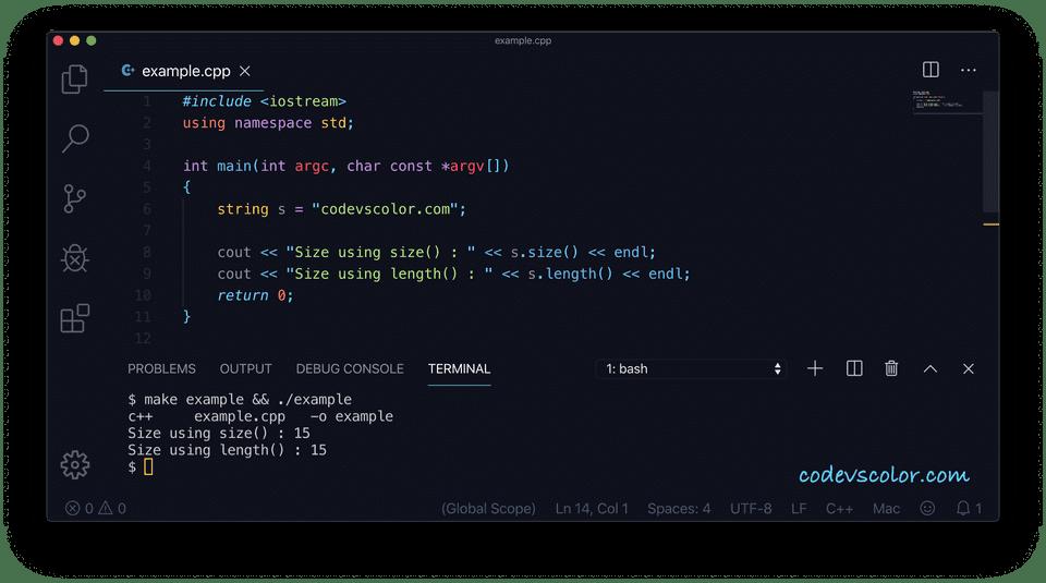 C++ string length size