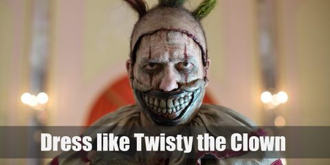 Twisty wears a dirty white clown costume. His deranged-looking prosthetic grin is a mask to hide the fact that he doesn't have a jaw anymore.