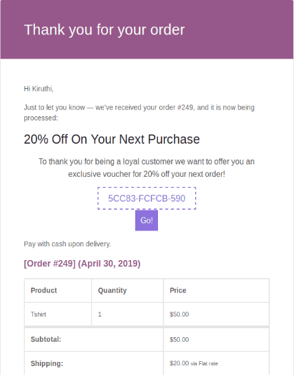 Next order coupon email