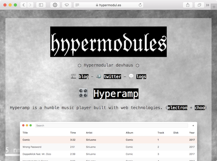 Screenshot of hypermodules website