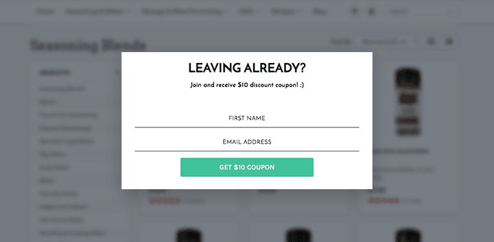 Exit intent popup example