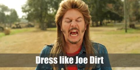 Joe Dirt looks like a typical, rugged Southern citizen. He wears an orange plaid shirt with the sleeves ripped off and acid wash jeans. But the most iconic of his looks is his awesome blonde mullet and peculiar side burns.