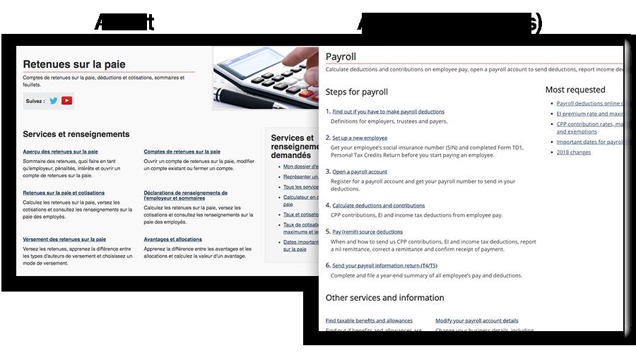 Capture d'écran montrant la page Retenues sur la pei avant et après et indiquant les différences.
