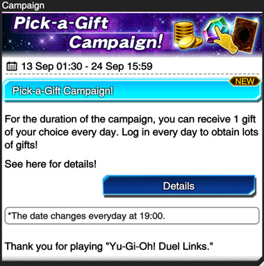 Pick-a-Gift Campaign Notification
