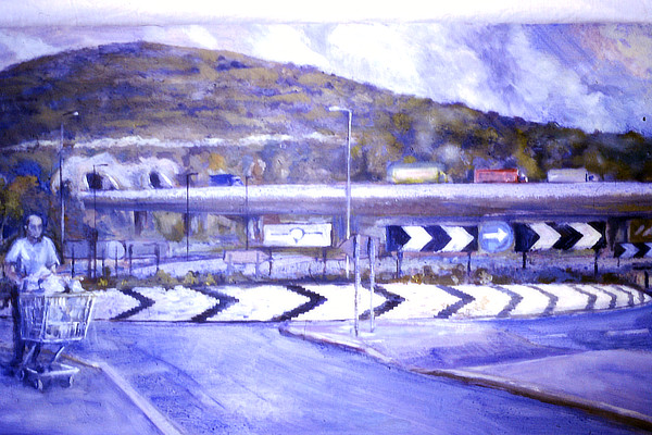 painting of a roundabout with the South Downs behind