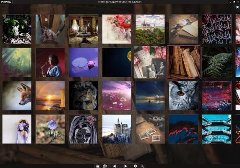 PicView horizontal image gallery example using dark theme