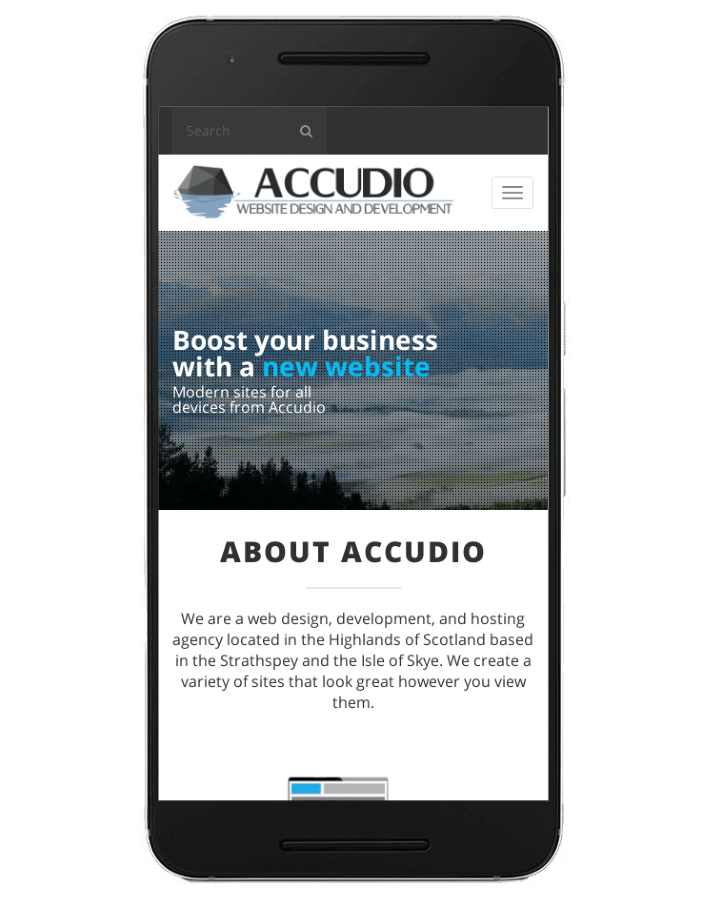 Accudio website on a mobile phone