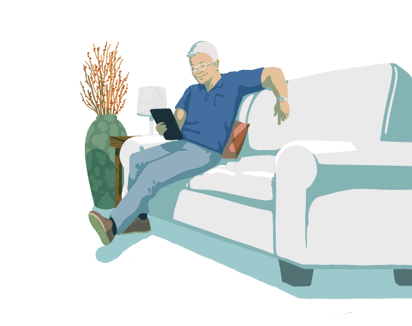 man relaxing on a couch