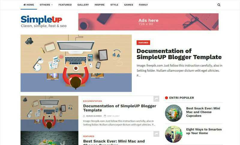 simpleup clean blogger template