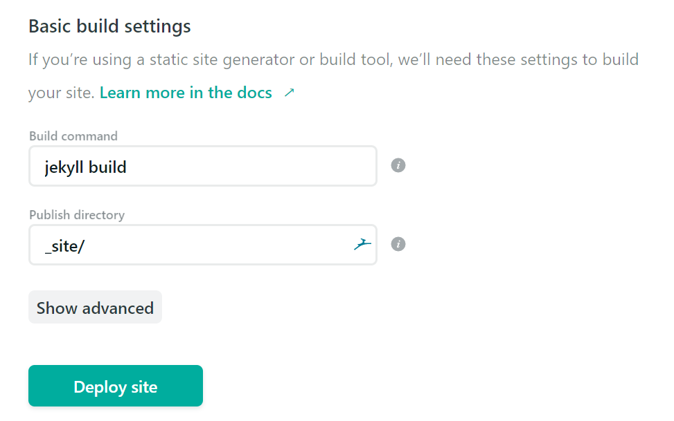 Build and Deploy Configuration as Third Step of Creating a Site on Netlify