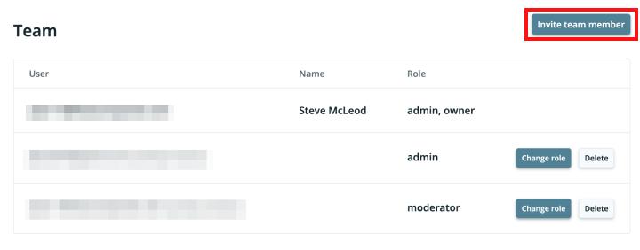Add team page