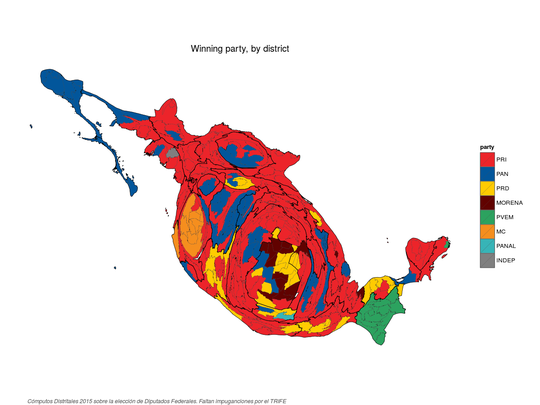 Equal area cartogram of winning party by district