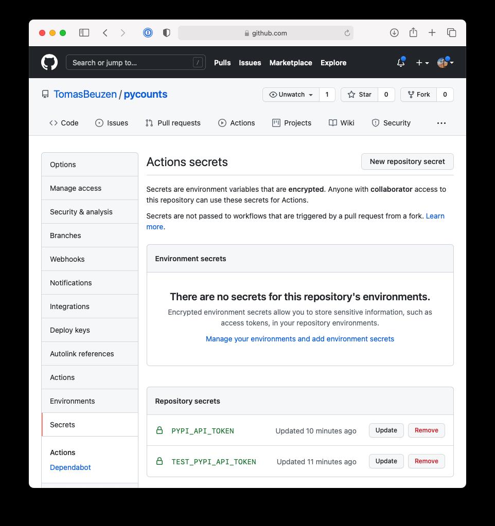 Adding the PyPI API token secret to our GitHub repository.