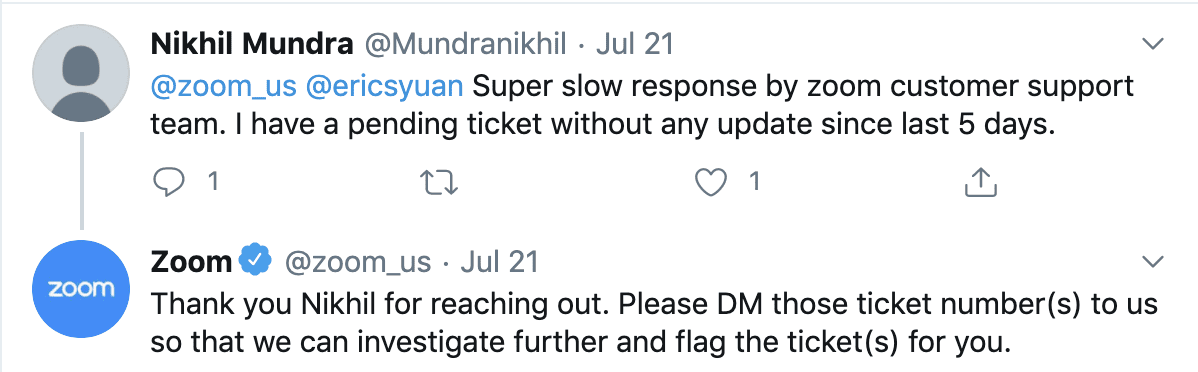 Negative tweet about Zoom's customer support