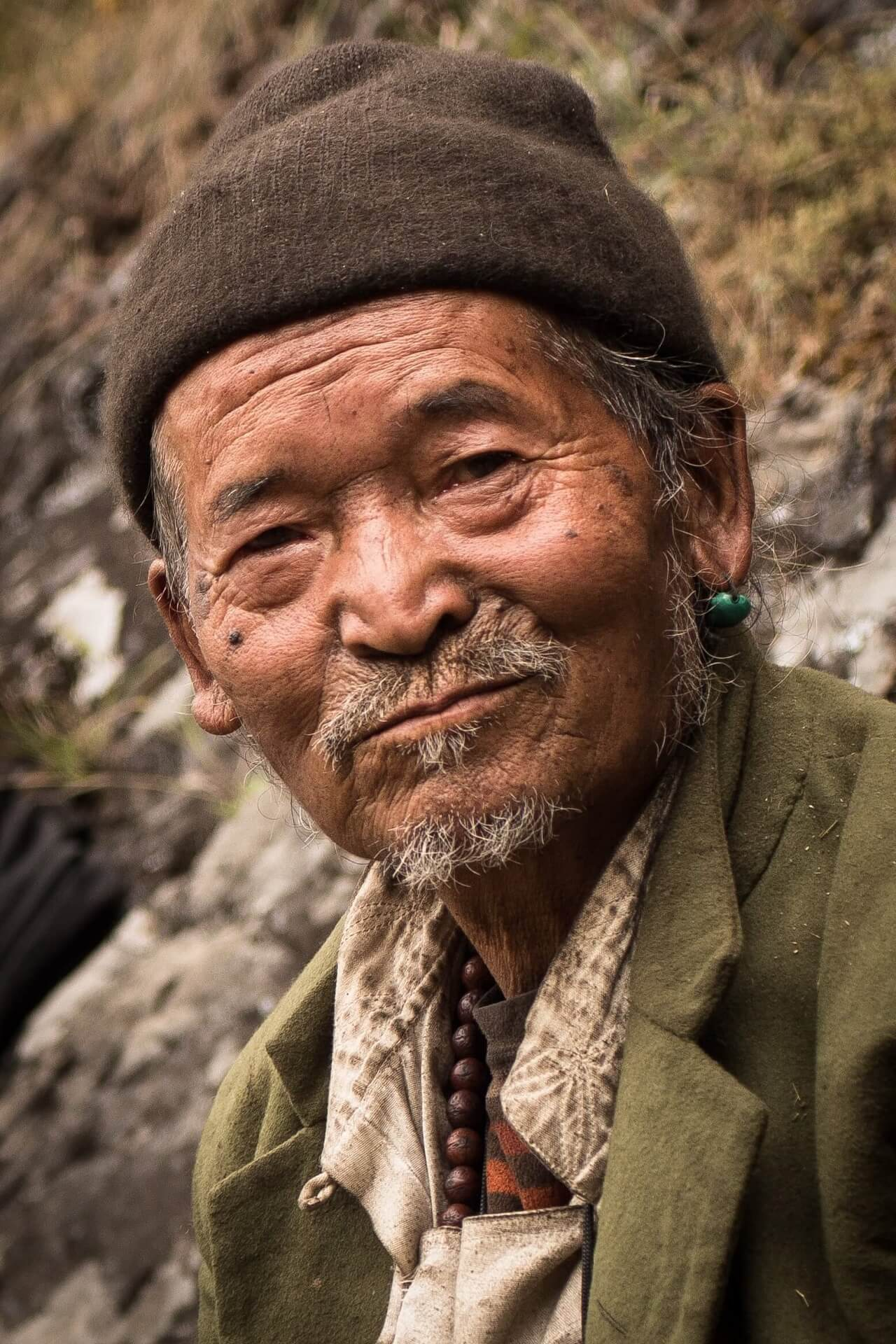 Nepali Old Man Smiling - Friendly