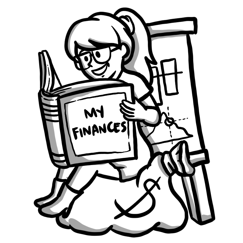 Character sitting on money bag, reading a book with the title 'My Finances'.