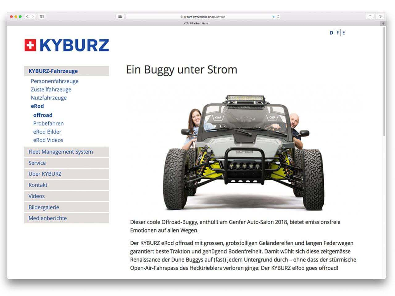 KYBURZ Corporate CMS Screenshot