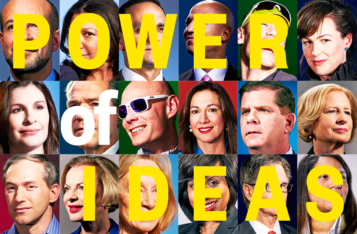 """Thumbnail portraits from the Boston magazine story, overlaid by text reading """"POWER OF IDEAS."""""""