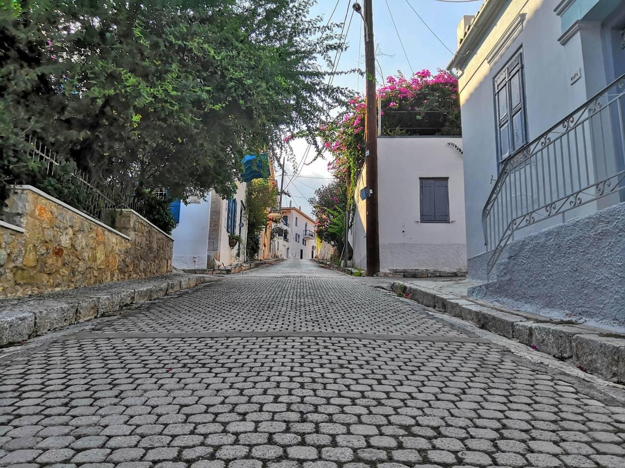 Ascending village stone road