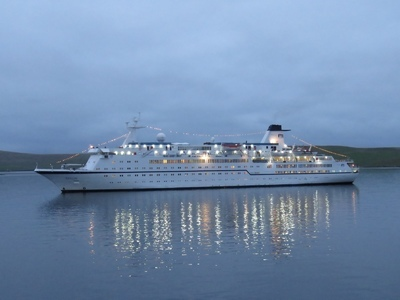 MV Berlin at anchor in the late evening