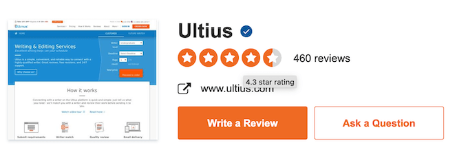 ultius.com sitejabber rating is 4 star